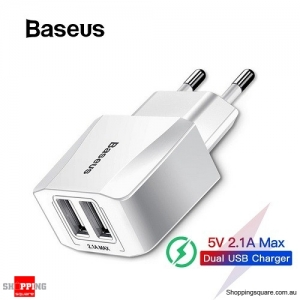 Baseus EU Plug 2.1A Max Dual USB Fast Charger for iPhone Charger for Samsung Xiaomi Phone Charger Adapter