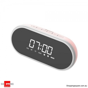 Baseus Night light Bluetooth Speaker With Alarm Clock Function ,Portable Wireless Loudspeaker Sound System Pink Colour