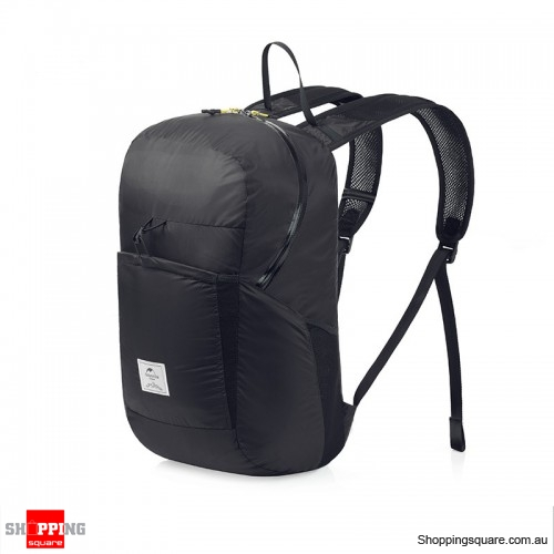 25L Folding Backpack Ultralight Waterproof Foldable Outdoor Sports Travel Bag - Black