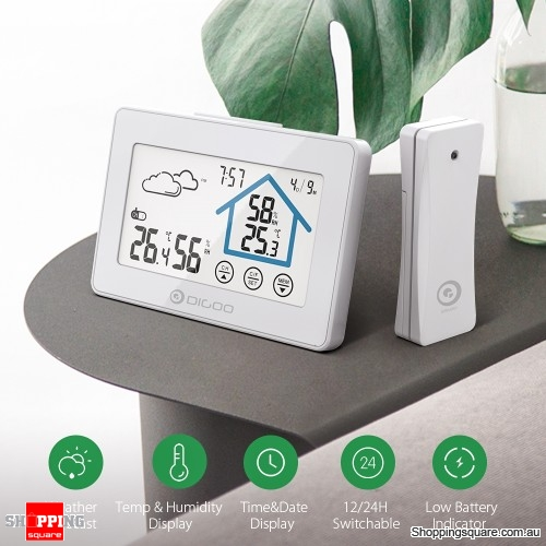 Touch Screen Weather Station Clock Alarm Thermometer Hygrometer Humidity Sensor