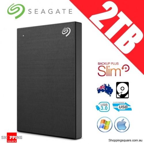 Seagate Backup Plus Slim 2TB 2.5in Portable Hard Disk Drive Black