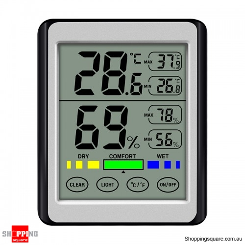 Digital Display Backlight Temperature Hygrometer LCD Weather Station - Gray