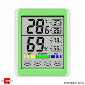 Digital Display Backlight Temperature Hygrometer LCD Weather Station - Green