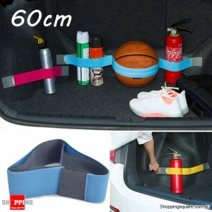 60cm Elastic Oxford Car Trunk Fixed Strap Magic Tape Sundry Stowing Tidying Strorage Belt - Blue 20cm