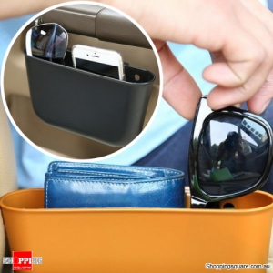 Portable Plastic Storage Car Seat Gap Pocket Phone Holder Organizer - Coffee