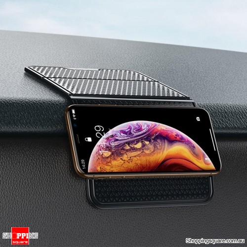 Car Folding Sticky Adhesive Non-slip Mat Dashboard Holder Placement Pad - Black