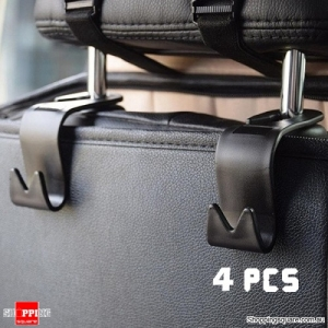 4pcs Car Seat Back Hook Head Rest Storage Hanger Bag Holder Organizer Universal - Black