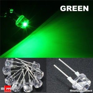 20pcs 8mm Straw Hat LED Water Clear Light Emitting Diodes Lamp - Green