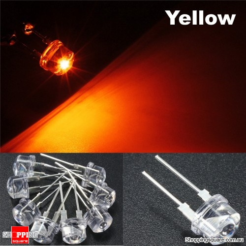 20pcs 8mm Straw Hat LED Water Clear Light Emitting Diodes Lamp - Yellow