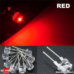 20pcs 8mm Straw Hat LED Water Clear Light Emitting Diodes Lamp - Red
