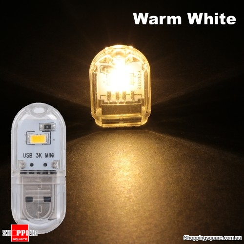 Mini USB LED Rigid Strip Night Light Camping Lamp DC5V - Warm White