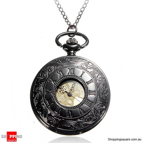 Retro Steampunk Style Pocket Watch Roman Numerals Chain Watch - Black