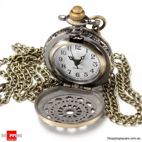 Vintage Steam Punk Quartz Bronze Necklace Pocket Watch