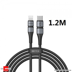 BMX Mfi 1.2M USB C to Lightning Charging Cable for iPhone 11 Pro Max XR 8 Plus USB PD 18W Fast Charger USB Cable Grey/Black