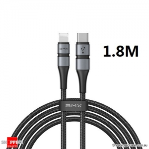 BMX Mfi 1.8M USB C to Lightning Charging Cable for iPhone 11 Pro Max XR 8 Plus USB PD 18W Fast Charger USB Cable Grey/Black