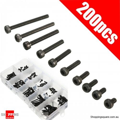 200Pcs M2 Carbon Steel Allen Bolt 3-20mm Hex Socket Cap Screw Metric Assortment Kit