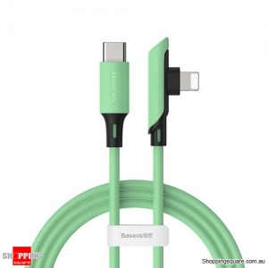 Baseus USB Cable for iPhone 11 XR 8 Charge Cable PD 18W Fast Charging USB C to for Lightning Cable Elbow Charger Cable Green