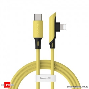 Baseus USB Cable for iPhone 11 XR 8 Charge Cable PD 18W Fast Charging USB C to for Lightning Cable Elbow Charger Cable Yellow