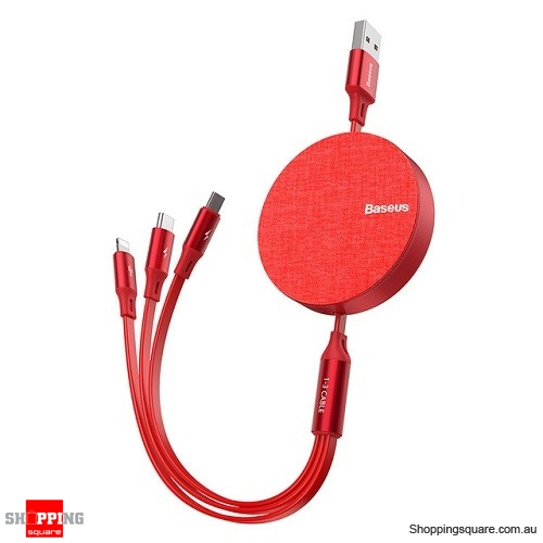 Baseus 3 in 1 USB Cable USB Type C Cable for iPhone XR 11 Pro Max USB Charger Cable Portable Micro USB Cable Type C Red