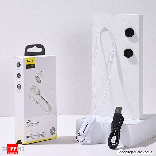 Baseus A06 Bluetooth Earphone Portable Business Wireless Headset Handsfree with Clip Driving Car Work for iPhone Huawei White