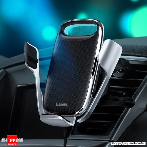 Baseus 15W Qi Wireless Car Charger Holder for iPhone Samsung QC 3.0 Wireless Charging Air Vent Mount Mobile Holder Stand Silver