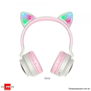 HOCO Gaming LED bluetooth headphones girl Headset for phone Music PC Laptop Kids TF Card 3.5mm Plug with microphone Pink Grey