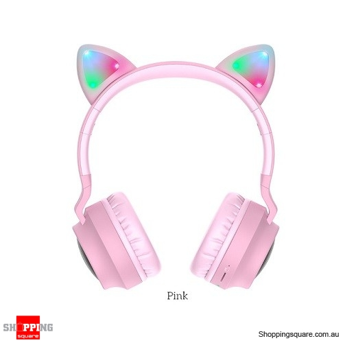 HOCO Gaming LED bluetooth headphones girl Headset for phone Music PC Laptop Kids TF Card 3.5mm Plug with microphone Pink