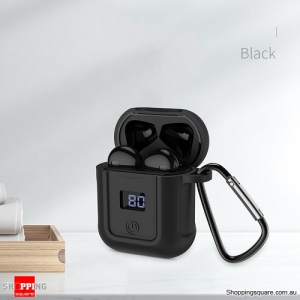 HOCO Wireless Bluetooth 5.0 Earphone Twins Headset With LED Display Charging Box Handsfree Stereo Music + Case Black