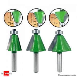 3pcs 8mm Shank Router Bit Chamfer Bevel Edging Woodworking Cutter