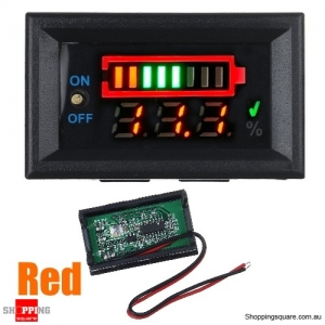 Power Voltage Dual Display 3S Lithium Battery Detection Board Display with Switch - Red
