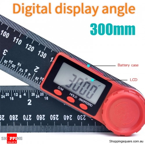 LCD Display Digital Angle Ruler Inclinometer Protractor Meter Measuring Tool - 300mm