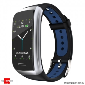 1.14' Color Display Metal Bezel Heart Rate IP68  Smart Watch Band - Blue