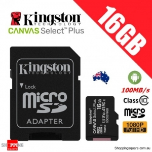 Kingston Canvas Select Plus 16GB micro SD SDHC Memory Card Class 10 100MB/s + Adapter