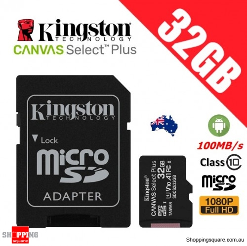 Kingston Canvas Select Plus 32GB micro SD SDHC Memory Card Class 10 100MB/s + Adapter