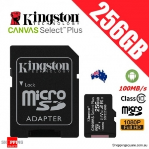 Kingston Canvas Select Plus 256GB micro SD SDXC Memory Card Class 10 100MB/s + Adapter