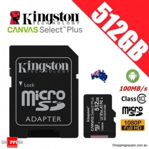 Kingston Canvas Select Plus 512GB micro SD SDXC Memory Card Class 10 100MB/s + Adapter