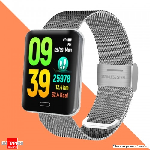 Waterproof Smart Watch 1.3 Touch Screen Blood Pressure Monitor Fitness Bracelet - Silver