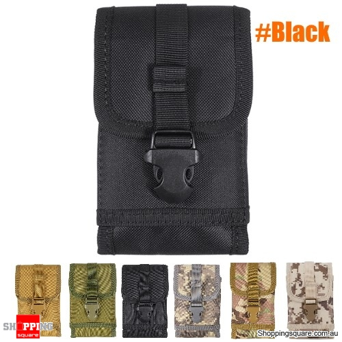 Military Tactical Cell Phone Bag Waist Pack Camping Hike Pouch Belt Case - Black