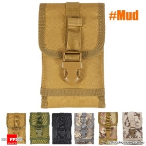 Military Tactical Cell Phone Bag Waist Pack Camping Hike Pouch Belt Case - Mud