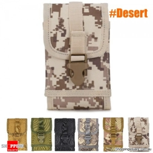 Military Tactical Cell Phone Bag Waist Pack Camping Hike Pouch Belt Case - Desert