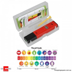 Digital PH Tester Meter Pocket Pen 0.00-14.00PH for Acidic Alkaline Base Water Aquarium Pool