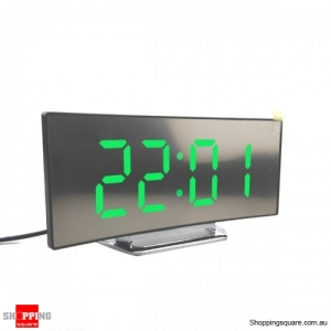 USB Rechargeable Mirror LED Alarm Clock Night Lights Digital Clock - Green