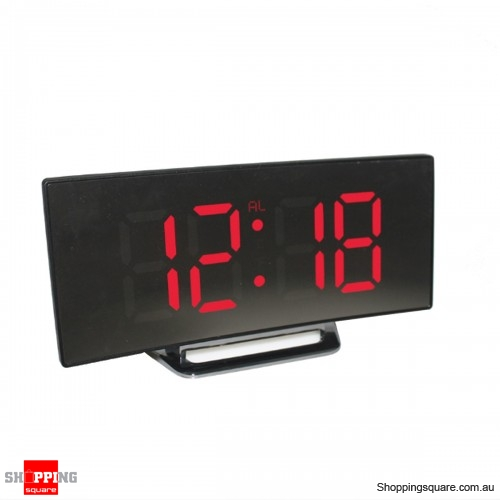 USB Rechargeable Mirror LED Alarm Clock Night Lights Digital Clock - Red