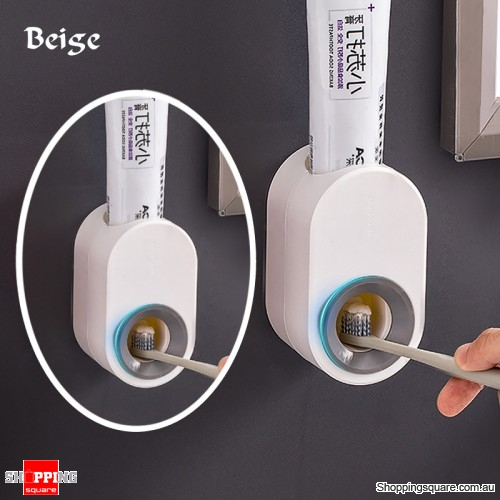 Toothpaste Extrusion Dispenser Squeezer Wall Mounted Rack Stand Holder - Beige