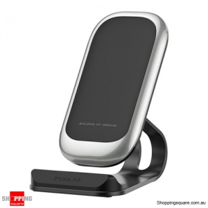 Fast Charging Qi Wireless Charger Dock Station Phone Holder - Silver