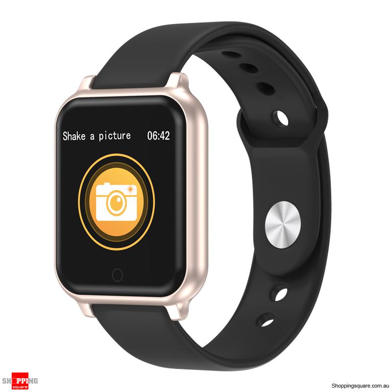 Metal Bezel Blood Pressure Motion Track Music Control Smart Watch - Gold