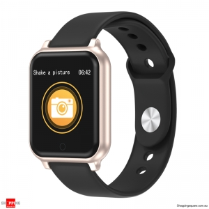 Metal Bezel Blood Pressure Motion Track Music Control Smart Watch - Gold