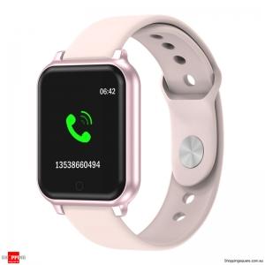 Metal Bezel Blood Pressure Motion Track Music Control Smart Watch - Rose Gold