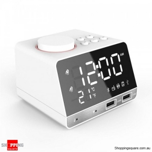 Dual Alarm Clock LED Display Wireless Bluetooth Bass Speaker - White