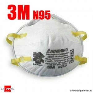 3M Mask N95 8210 FFP2 Approved Respirator Face Anti Dust Flu Protection, 1pc
